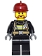 Minifig No: game015  Name: Fire - Reflective Stripes with Utility Belt, Black Legs, Dark Red Fire Helmet, Brown Beard Rounded