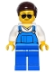 Minifig No: game016  Name: Overalls Blue over V-Neck Shirt, Blue Legs, Dark Brown Smooth Hair, Black and Silver Sunglasses, Black Eyebrows