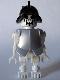 Minifig No: gen021  Name: Skeleton, Fantasy Era Torso with Evil Skull, Black Conquistador Helmet, Pearl Light Gray Armor