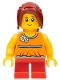 Minifig No: gen077  Name: Girl, Red Short Legs, Hair Ponytail Long with Side Bangs