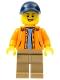 Minifig No: gen079  Name: Orange Jacket with Hood over Light Blue Sweater, Dark Tan Legs, Dark Blue Cap with Hole