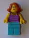 Minifig No: gen081  Name: Woman - Dark Purple and Lavender Striped Top