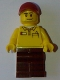 Minifig No: gen084  Name: Lego Store Driver, Black Legs, Dark Red Cap with Hole