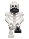 Minifig No: gen094  Name: Skeleton with Standard Skull, Scarf, Bent Arms and Short Black Leg