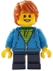 Minifig No: gen108  Name: Boy, Dark Azure Hoodie with Green Striped Shirt, Dark Blue Short Legs, Freckles, Dark Orange Hair