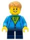 Minifig No: gen112  Name: Boy, Dark Azure Hoodie with Green Striped Shirt, Dark Blue Short Legs, Freckles, Medium Dark Flesh Hair