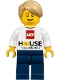 Minifig No: gen133  Name: LEGO House Minifigure - LEGO Logo, 'Home of the Brick'
