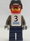 Minifig No: gg002s  Name: Snowboarder, Dark Gray Shirt, Dark Blue Legs, White Vest, Number 3 Sticker on Both Sides
