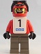 Minifig No: gg005s  Name: Snowboarder, Red Shirt, Dark Gray Legs, White Vest, Number 1 Sticker on Both Sides
