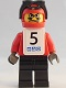 Minifig No: gg008s  Name: Snowboarder, Red Shirt, Black Legs, White Vest, Number 5 Sticker on Both Sides