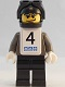 Minifig No: gg009s  Name: Snowboarder, Dark Gray Shirt, Black Legs, Black Helmet, White Vest, Number 4 Sticker on Both Sides
