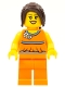 Minifig No: hol015  Name: Orange Halter Top with Medium Blue Trim and Flowers Pattern, Orange Legs, Dark Brown Hair Ponytail Long with Side Bangs