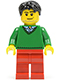 Minifig No: hol023  Name: Green V-Neck Sweater, Red Legs, Black Short Tousled Hair, Smirk and Stubble Beard