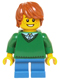 Minifig No: hol058  Name: Green V-Neck Sweater, Blue Short Legs, Dark Orange Tousled Hair