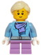 Minifig No: hol066  Name: Medium Blue Jacket with Light Purple Scarf, Medium Lavender Short Legs, Bright Light Yellow Ponytail and Swept Sideways Fringe