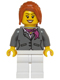 Minifig No: hol068  Name: Dark Bluish Gray Jacket with Magenta Scarf, White Legs, Dark Orange Hair Ponytail Long with Side Bangs