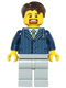 Minifig No: hol069  Name: Businessman Pinstripe Jacket and Gold Tie, Light Bluish Gray Legs, Dark Brown Hair Short Tousled with Side Part