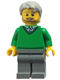 Minifig No: hol071  Name: Green V-Neck Sweater, Dark Bluish Gray Legs, Light Bluish Gray Short Tousled Hair, Beard (Thanksgiving Pop)