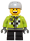 Minifig No: hol073  Name: Lime Jacket with Wrench and Black and White Checkered Pattern, Short Black Legs, Sports Helmet with Vent Holes
