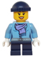 Minifig No: hol074  Name: Medium Blue Jacket with Light Purple Scarf, Dark Blue Short Legs, Dark Blue Knit Cap