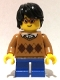 Minifig No: hol104  Name: Boy - Medium Dark Flesh Argyle Sweater, Short Blue Legs, Black Hair, Glasses