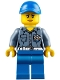 Minifig No: hol107  Name: Coast Guard City ATV Driver Female, Blue Legs, Blue Cap with Hole
