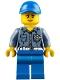 Minifig No: hol107  Name: Coast Guard City ATV Driver Female, Blue Legs, Blue Cap with Hole