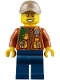 Minifig No: hol109  Name: City Jungle Explorer - Dark Orange Jacket with Pouches, Dark Blue Legs, Dark Tan Cap with Hole, Big Smile