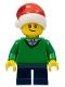 Minifig No: hol112  Name: Boy, Green V-Neck Sweater, Dark Blue Short Legs, Santa Hat