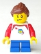 Minifig No: hol132  Name: Girl - Shirt with Red Collar, Spaceship Orbiting Classic Space Helmet, Blue Short Legs, Ponytail and Swept Sideways Fringe, Freckles