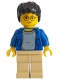 Minifig No: hp004  Name: Harry Potter, Blue Open Shirt Torso, Tan Legs