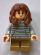 Minifig No: hp156  Name: Hermione Granger, Light Bluish Gray Sweater with Pastel Stripes
