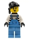 Minifig No: ixs006a  Name: Xtreme Stunts Brickster Henchman with Medium Blue Overalls #1 with Neck Bracket