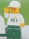 Minifig No: mdf001  Name: MD Foods - White Torso (Sticker on both sides), Green Legs, White Cap