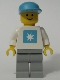 Minifig No: msk001  Name: Maersk - White Torso (Sticker), Light Gray Legs, Maersk Blue Cap