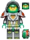Minifig No: nex004  Name: Aaron - Flat Silver Visor, Clip, Curved Slope and Towball on Back