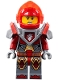 Minifig No: nex086  Name: Macy - Trans-Neon Orange Visor and Dark Red Plume