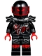 Minifig No: njo385  Name: Mr. E - Biker Vest with Number 103 and Red and Silver Patches and Garmadon Mask on Back, Black Helmet with Trans-Red Visor, Flame Eyes, Armor