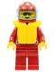 Minifig No: oct036  Name: Octan - Racing, Red Legs, Red Helmet 7 White Stars, Trans-Light Blue Visor, Life Jacket