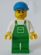 Minifig No: ovr037a  Name: Overalls Green with Pocket, Green Legs, Blue Cap with Short Curved Bill, Smirk and Stubble Beard