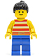 Minifig No: par043  Name: Red / White Stripes Shirt, Blue Legs, Black Ponytail Hair