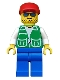 Minifig No: pck001  Name: Jacket Green with 2 Large Pockets - Blue Legs, Red Cap