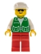 Minifig No: pck025  Name: Jacket Green with 2 Large Pockets - Red Legs, White Cap
