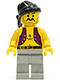 Minifig No: pi012  Name: Pirate Anchor Shirt, Light Gray Legs, Black Bandana