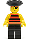 Minifig No: pi025  Name: Pirate Red / Black Stripes Shirt, Black Legs, Black Pirate Triangle Hat