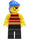 Minifig No: pi027  Name: Pirate Red / Black Stripes Shirt, Black Legs, Blue Bandana