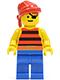 Minifig No: pi032  Name: Pirate Red / Black Stripes Shirt, Blue Legs, Red Bandana