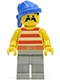 Minifig No: pi041  Name: Pirate Red / White Stripes Shirt, Light Gray Legs, Blue Bandana