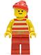 Minifig No: pi046  Name: Pirate Red / White Stripes Shirt, Red Legs, Red Bandana