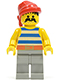 Minifig No: pi072  Name: Pirate Blue / White Stripes Shirt, Light Gray Legs, Red Bandana